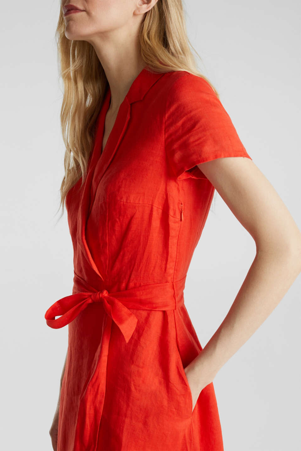 Made of linen: dress with a wrap-over effect, RED ORANGE, detail image number 3