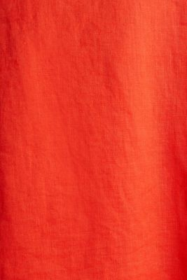 Made of linen: dress with a wrap-over effect, RED ORANGE, detail