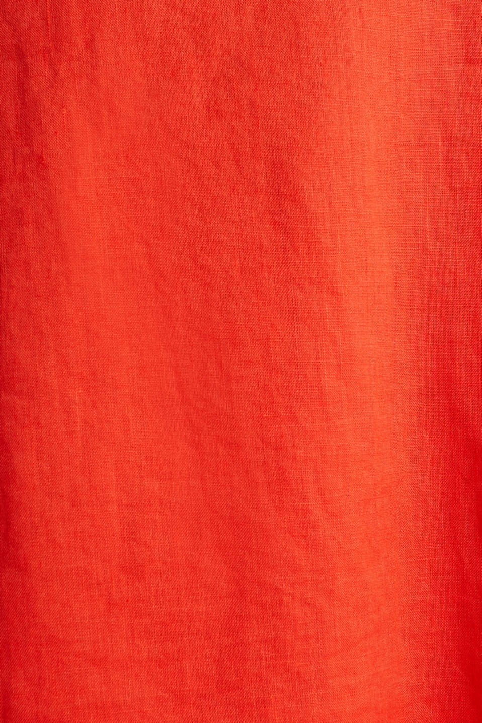 Made of linen: dress with a wrap-over effect, RED ORANGE, detail image number 4