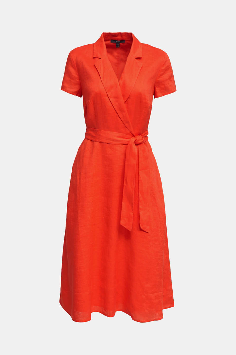 Made of linen: dress with a wrap-over effect, RED ORANGE, detail image number 5