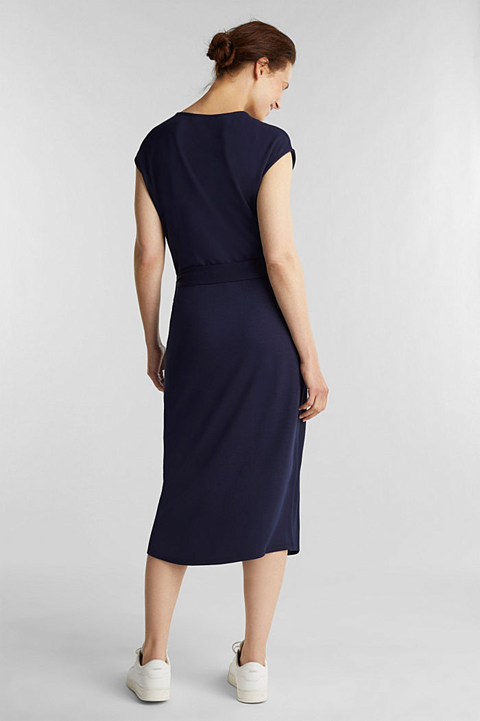 Punto jersey dress with a belt, NAVY, detail image number 2