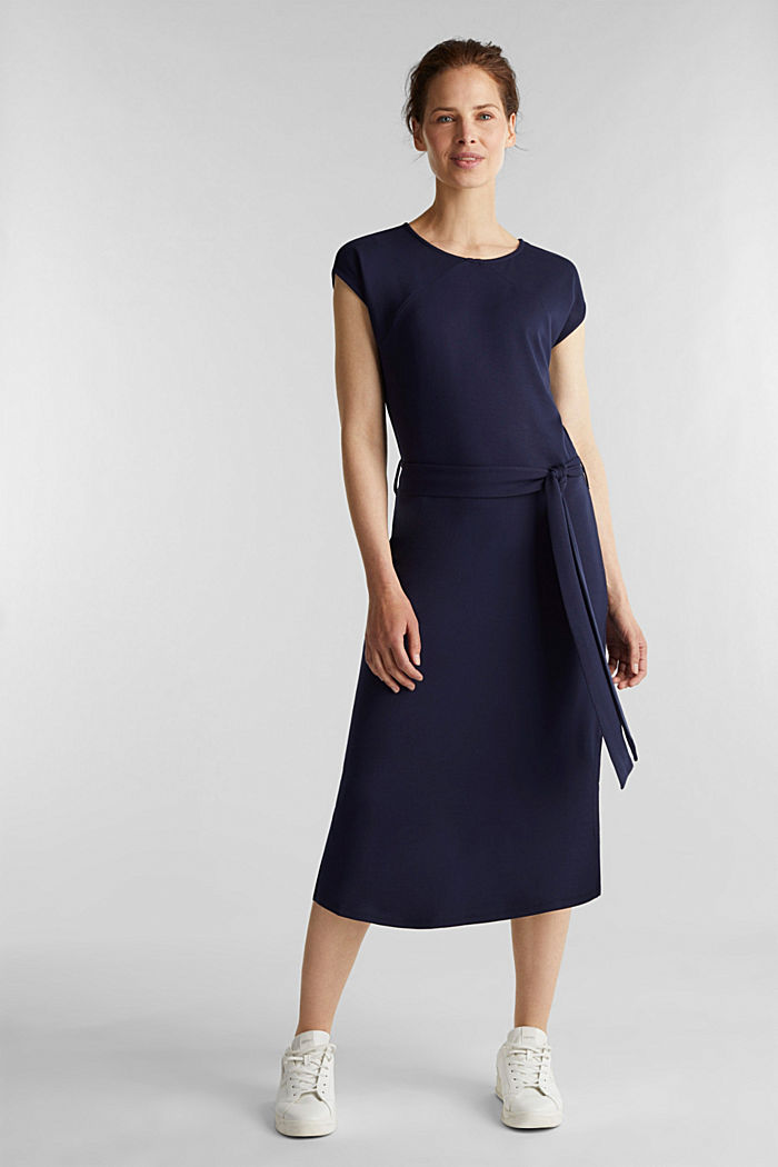Punto jersey dress with a belt, NAVY, detail image number 1