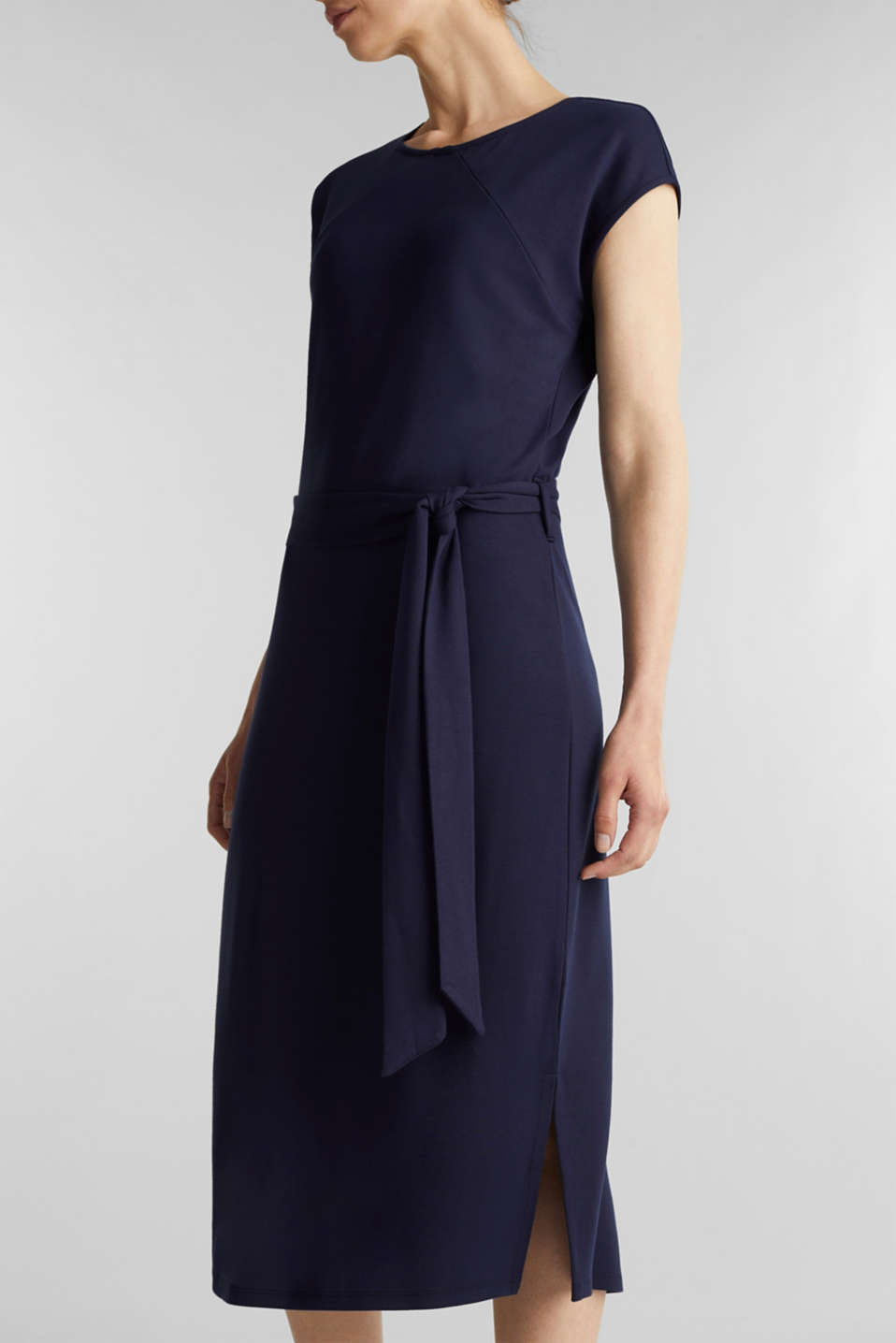 Punto jersey dress with a belt, NAVY, detail image number 3