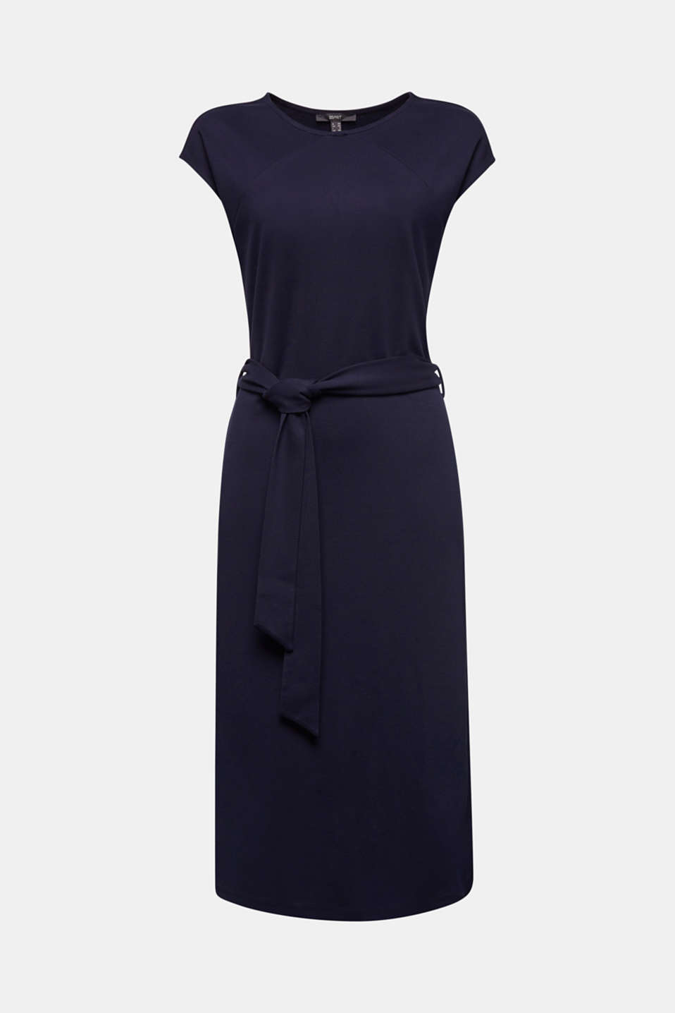Punto jersey dress with a belt, NAVY, detail image number 5