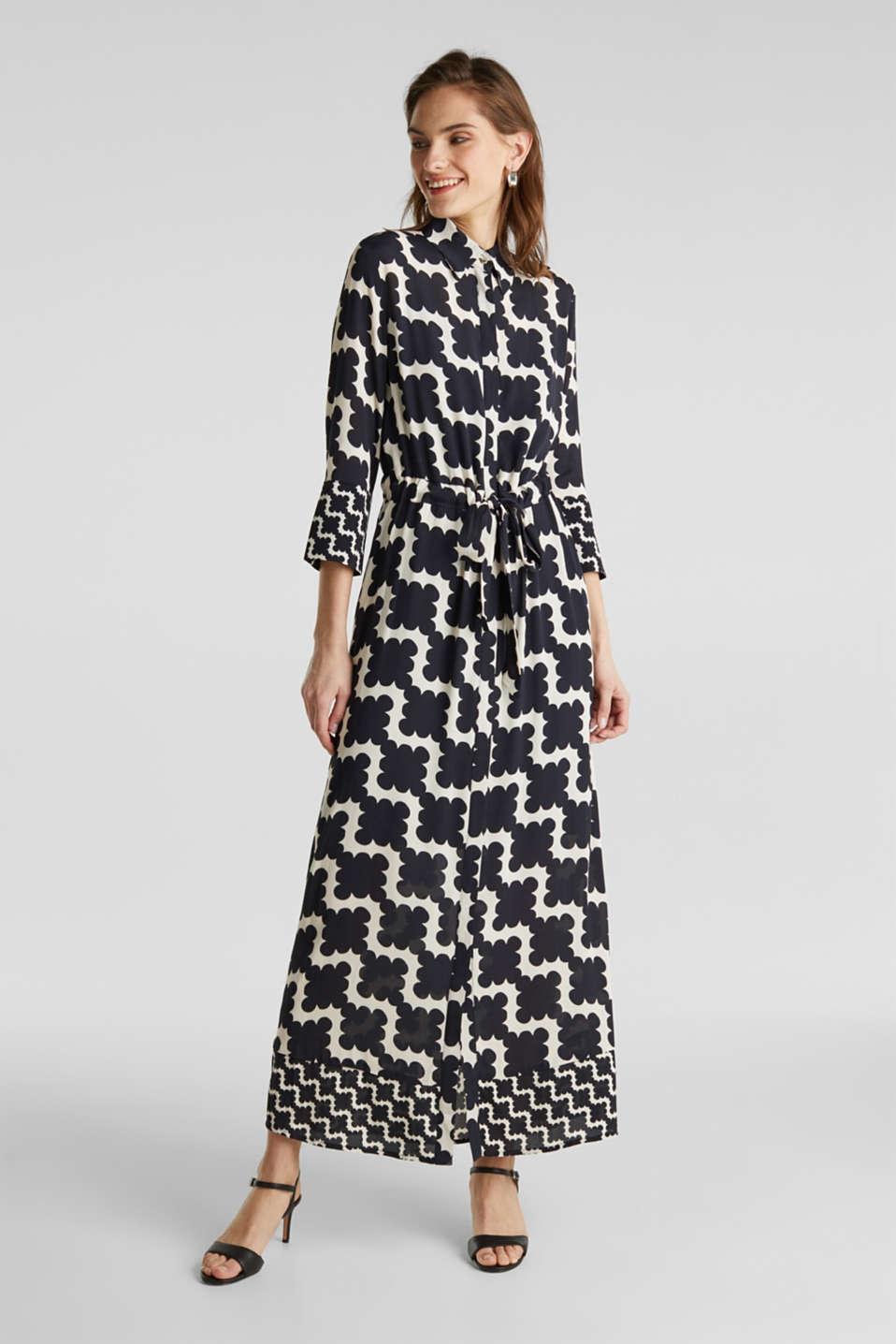 Crêpe dress with drawstring waist, BLACK 3, detail image number 0