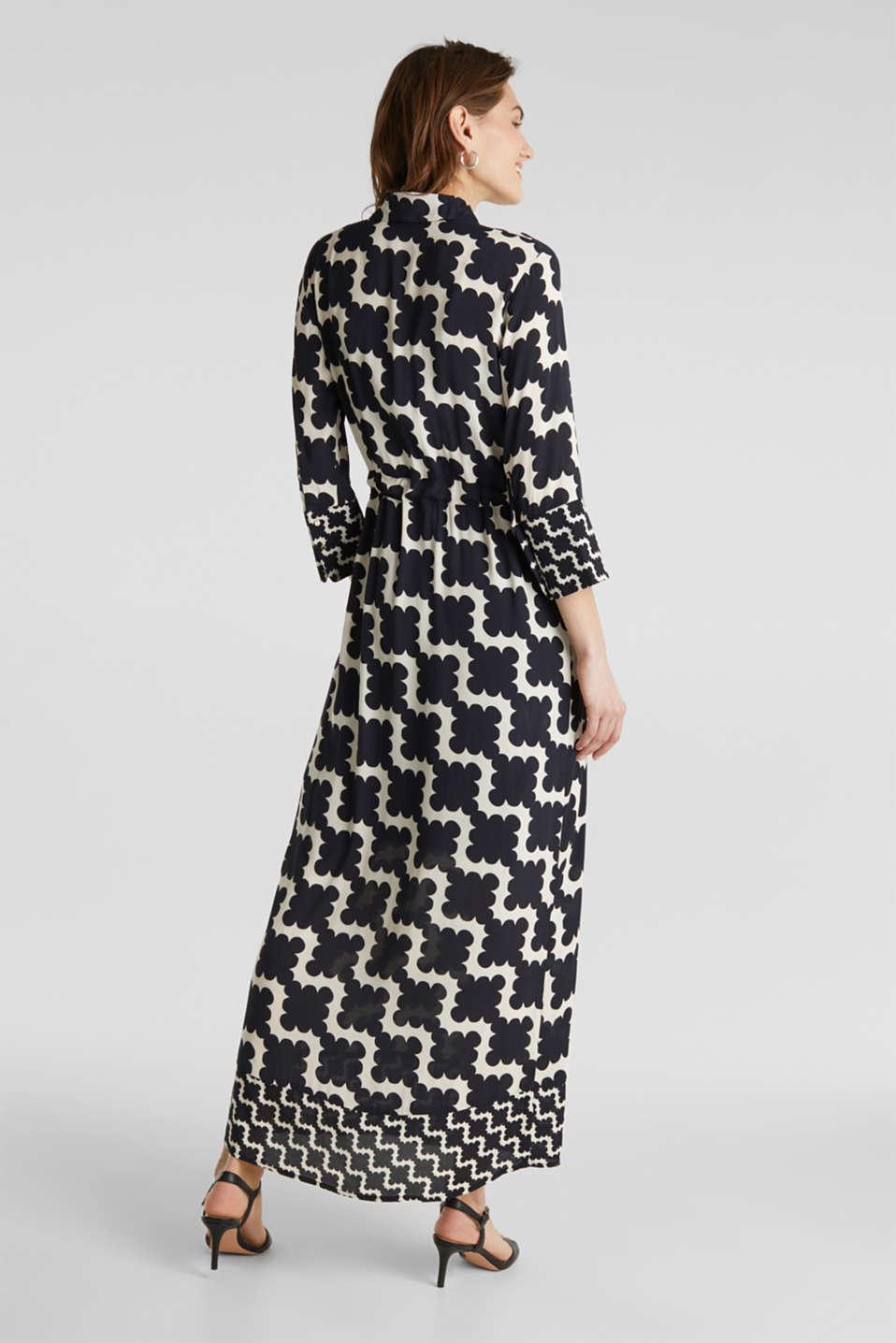 Crêpe dress with drawstring waist, BLACK 3, detail image number 2