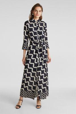 Crêpe dress with drawstring waist, BLACK 3, detail