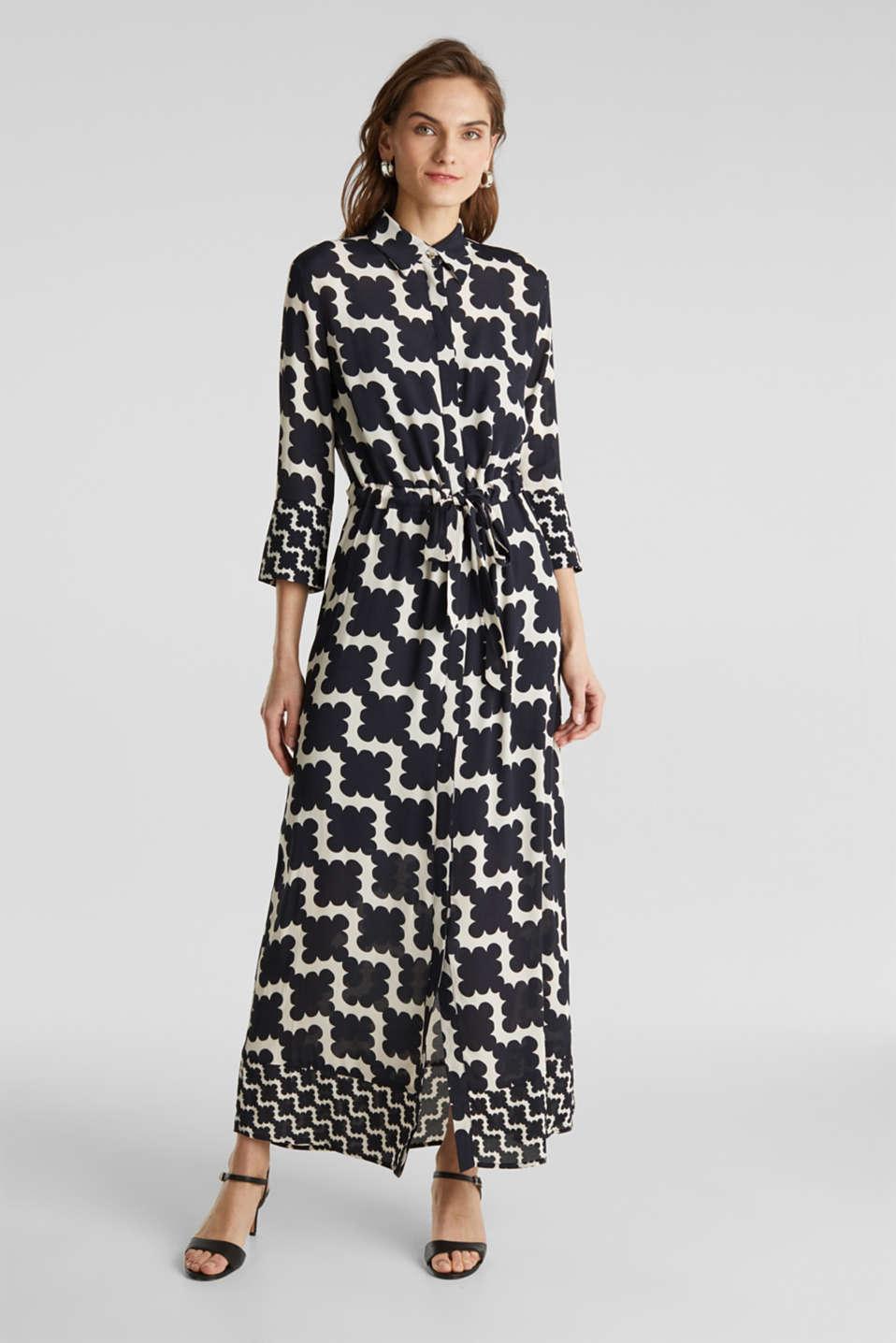 Crêpe dress with drawstring waist, BLACK 3, detail image number 1