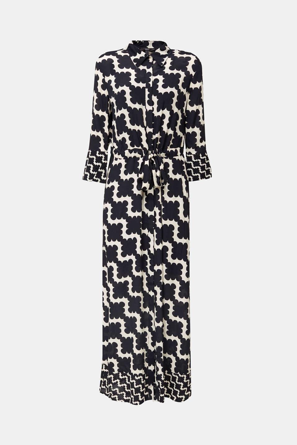 Crêpe dress with drawstring waist, BLACK 3, detail image number 8