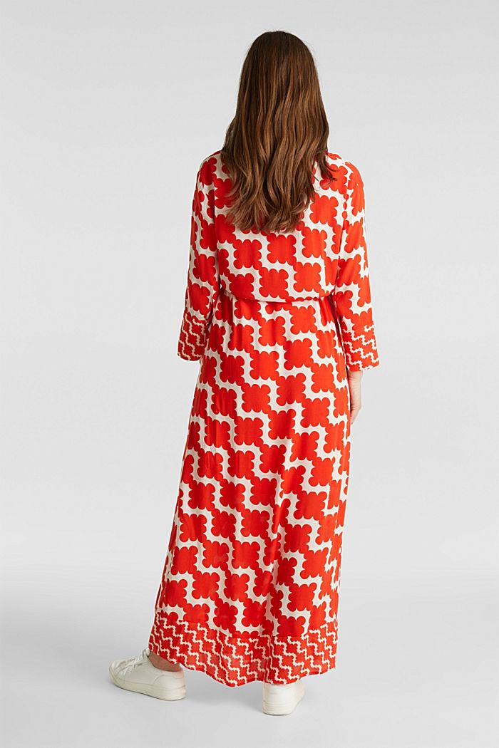 Crêpe dress with drawstring waist, RED ORANGE, detail image number 2