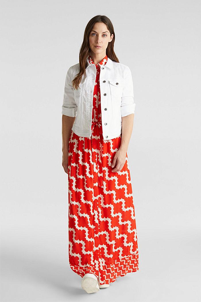 Crêpe dress with drawstring waist, RED ORANGE, detail image number 1