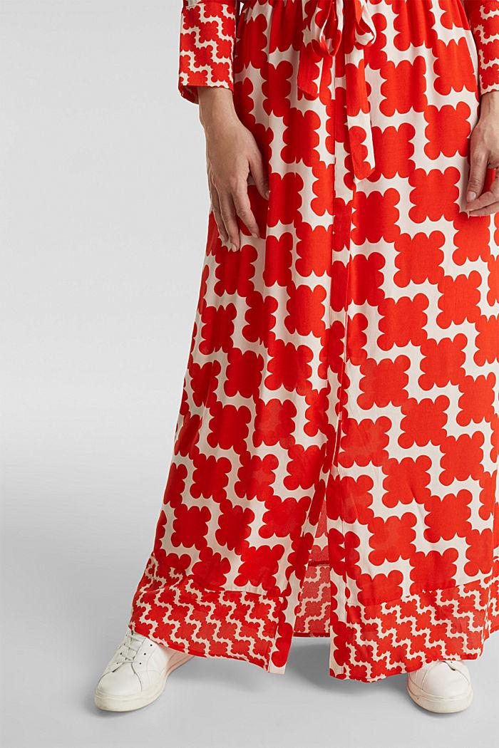 Crêpe dress with drawstring waist, RED ORANGE, detail image number 5
