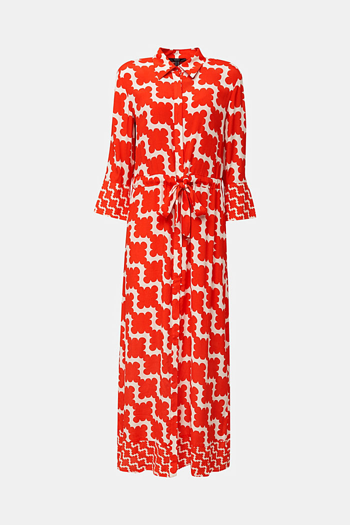 Crêpe dress with drawstring waist, RED ORANGE, overview