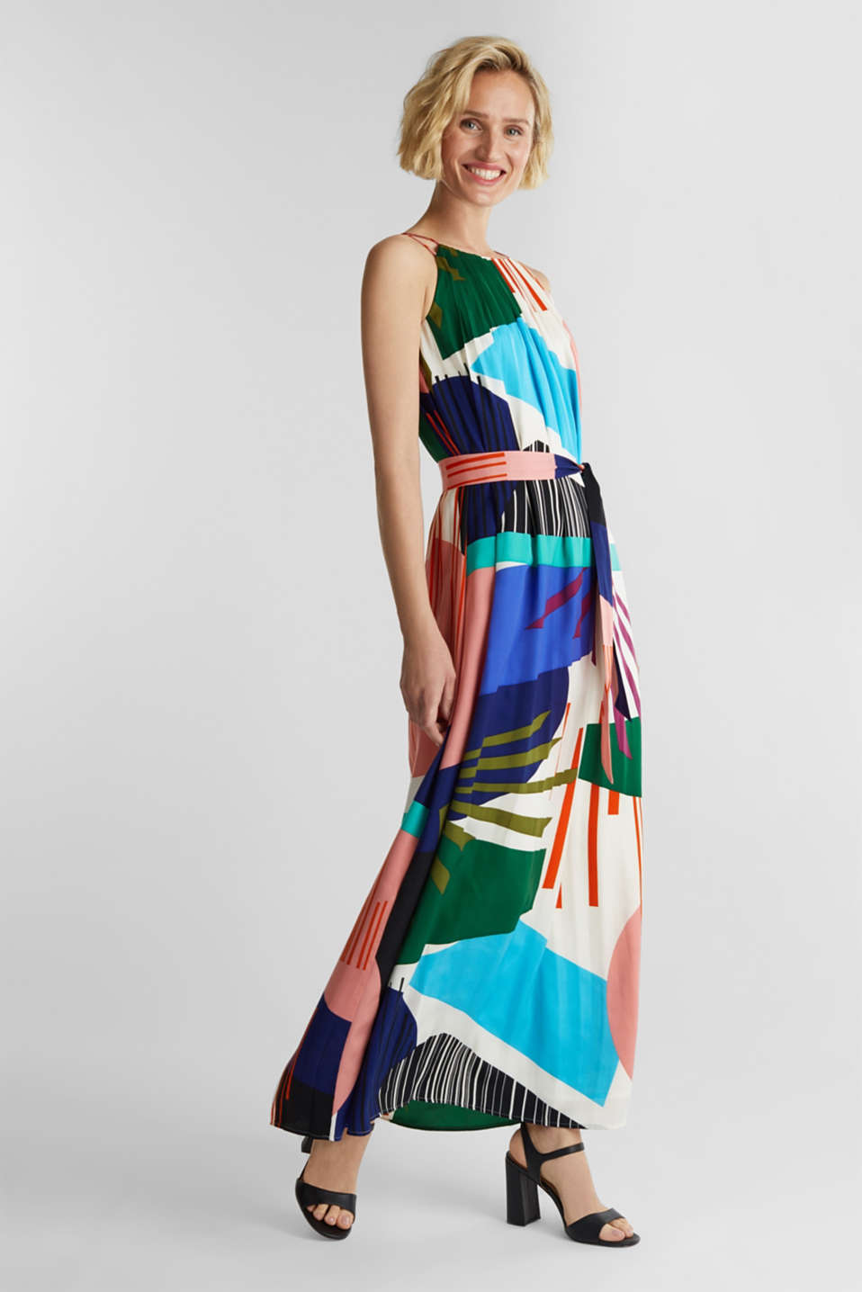 Maxi dress with a geometric print, OFF WHITE 4, detail image number 0