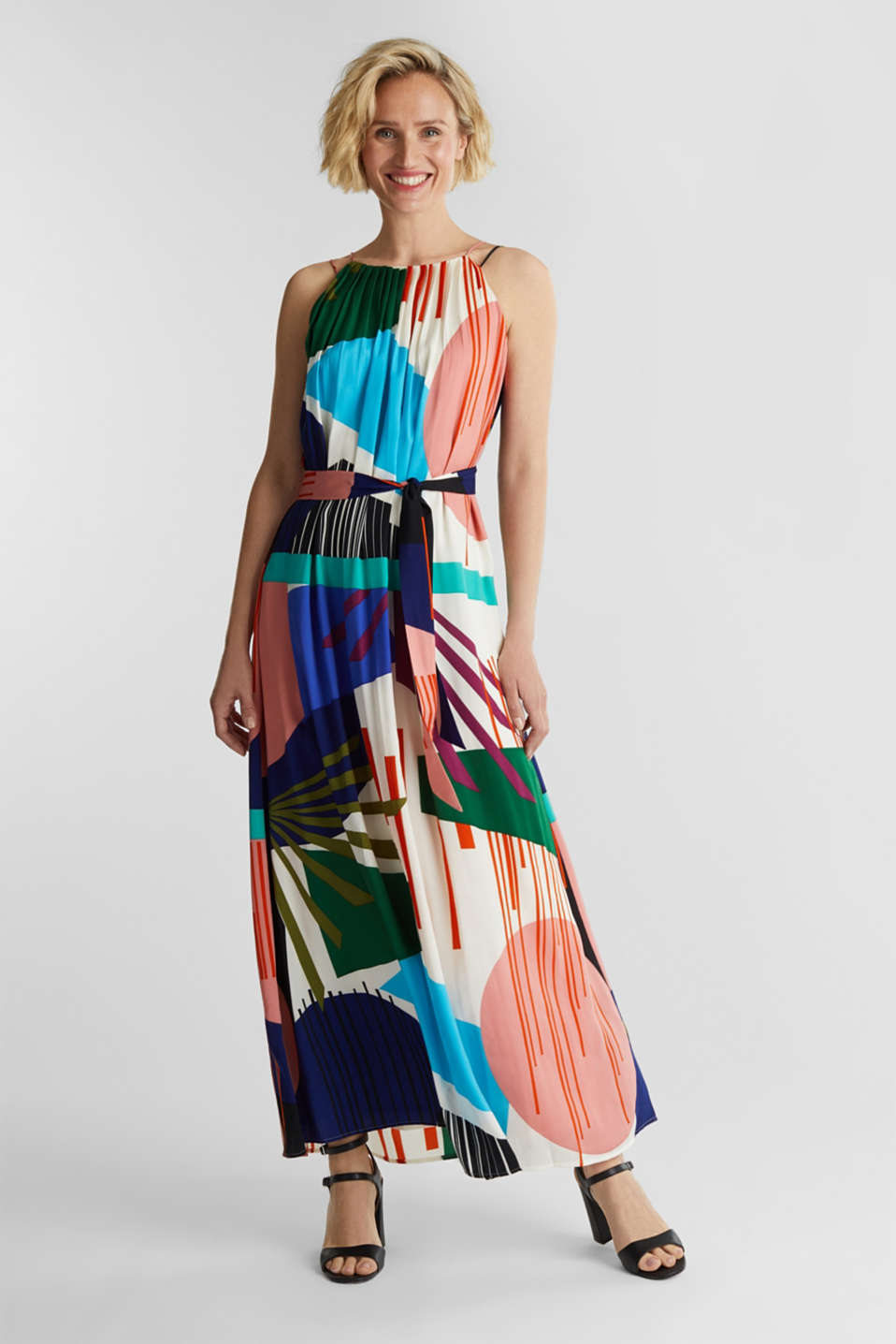 Maxi dress with a geometric print, OFF WHITE 4, detail image number 1