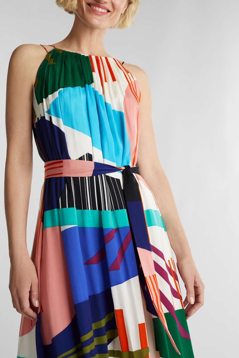 Maxi dress with a geometric print, OFF WHITE 4, detail image number 3
