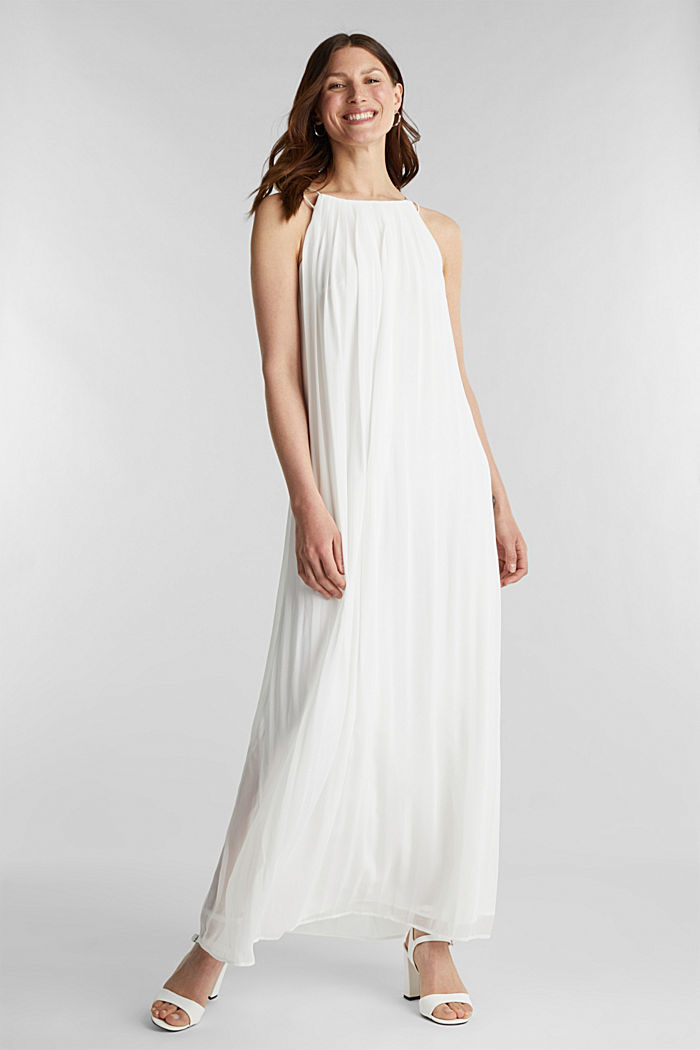 Recycled: pleated chiffon maxi dress, OFF WHITE, detail image number 0