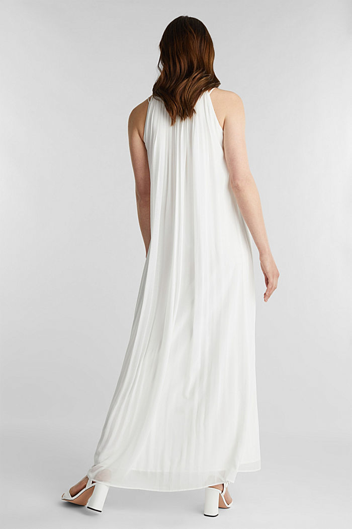 Recycled: pleated chiffon maxi dress, OFF WHITE, detail image number 2
