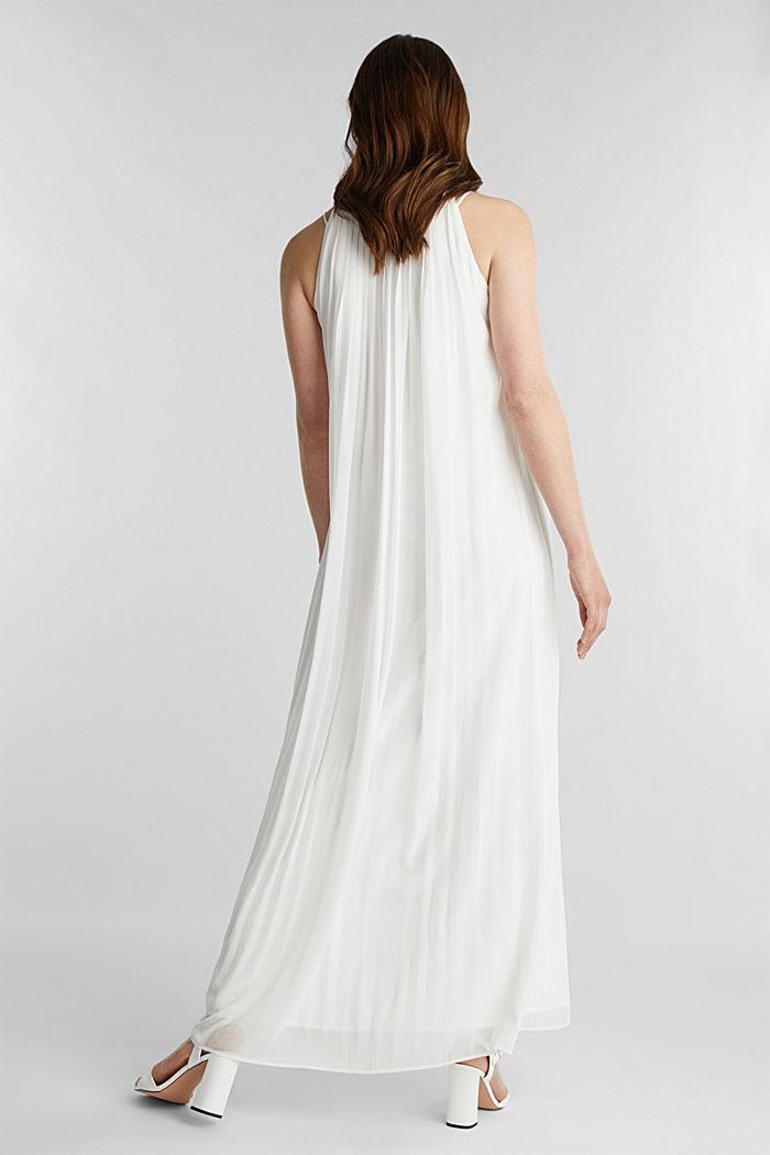 Gerecycled: geplisseerde maxi-jurk van chiffon, OFF WHITE, detail image number 2