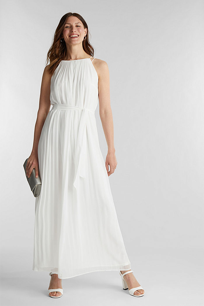 Recycled: pleated chiffon maxi dress, OFF WHITE, detail image number 1