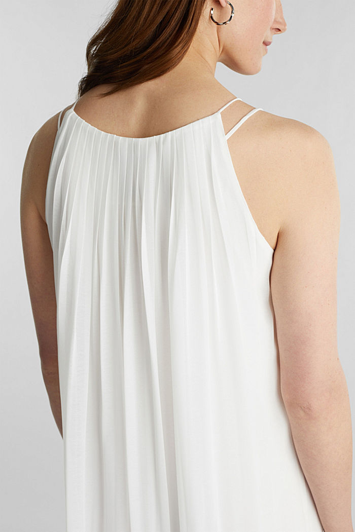 Recycled: pleated chiffon maxi dress, OFF WHITE, detail image number 3