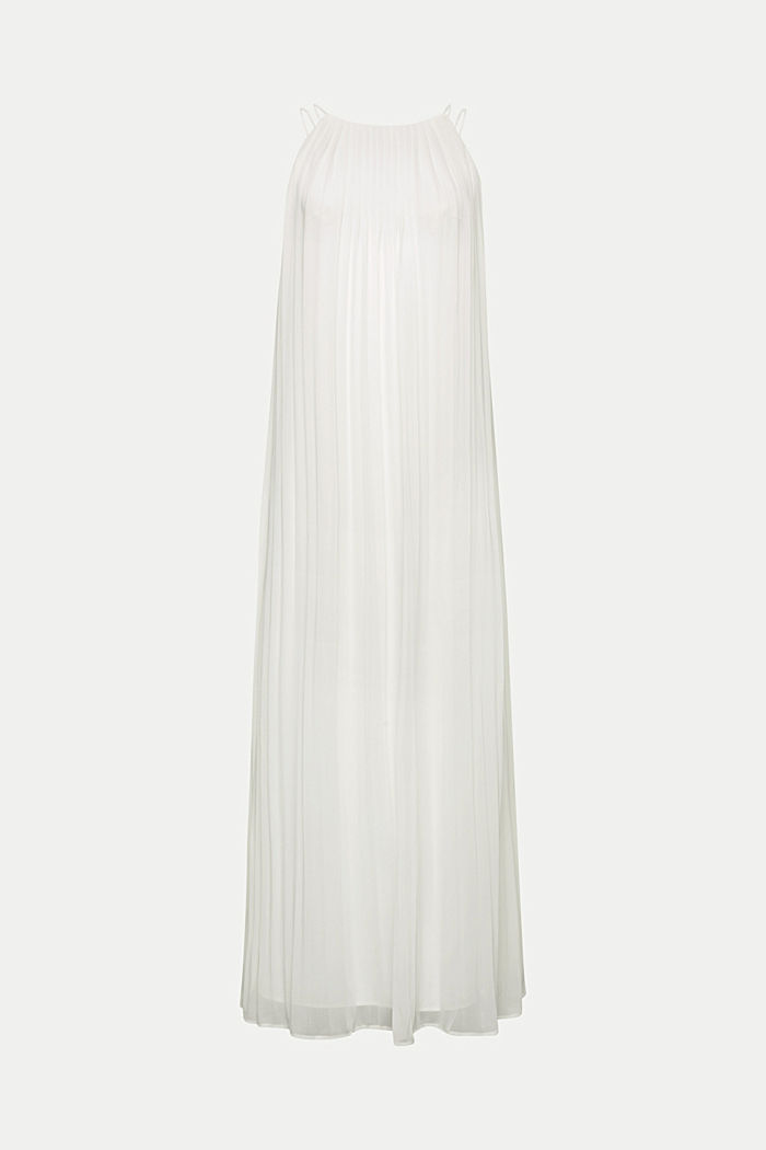 Recycled: pleated chiffon maxi dress, OFF WHITE, detail image number 5