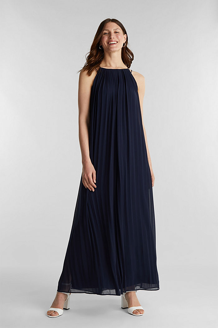 Gerecycled: geplisseerde maxi-jurk van chiffon