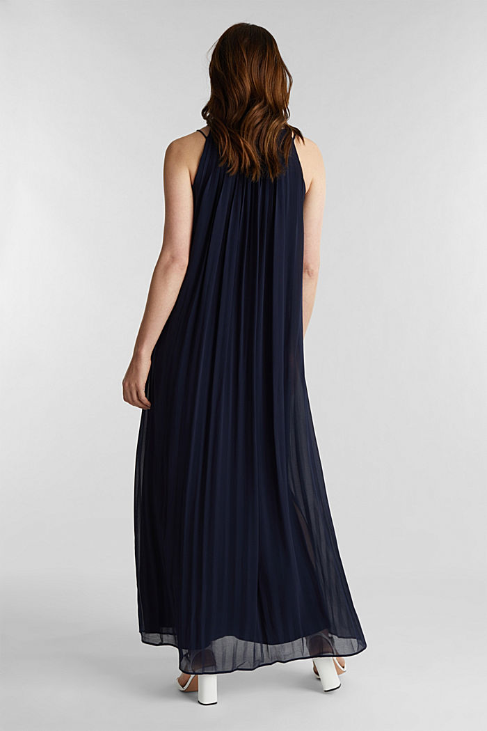 Recycelt: Plissee-Maxi-Kleid aus Chiffon, NAVY, detail image number 2