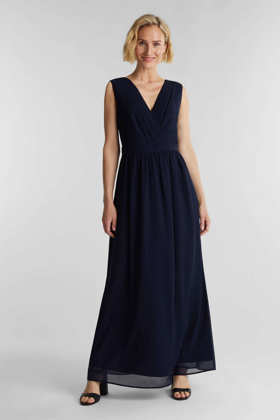 Recycled: chiffon maxi dress, NAVY, detail image number 0