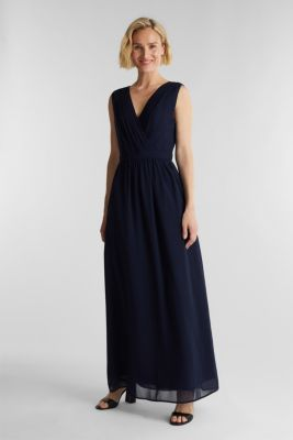 Recycled: chiffon maxi dress, NAVY, detail
