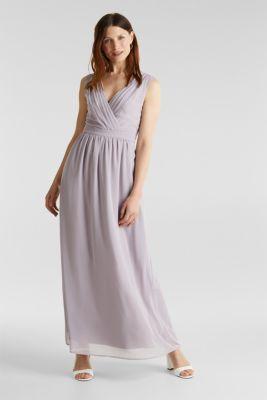 Recycled: chiffon maxi dress, MAUVE, detail