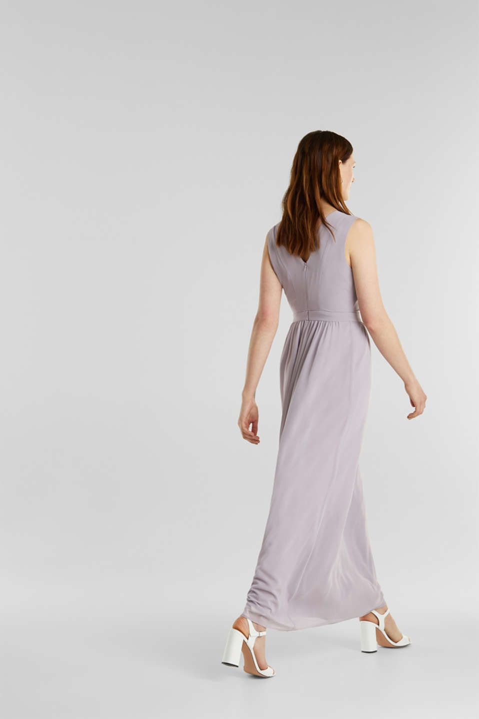 Recycled: chiffon maxi dress, MAUVE, detail image number 1