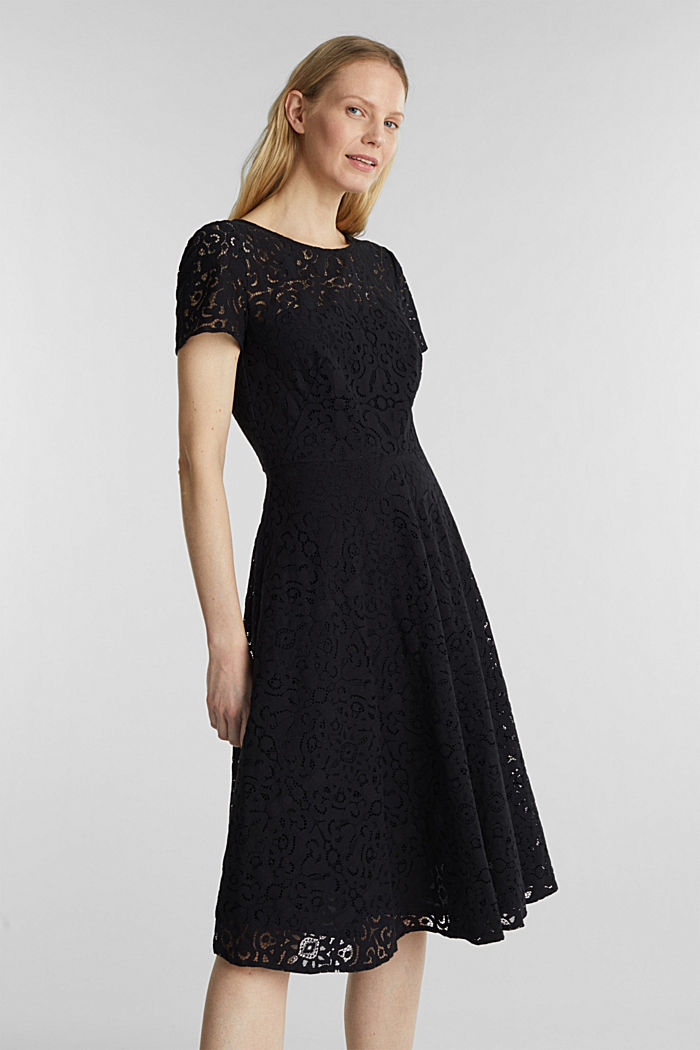 Lace dress with a swirling skirt, BLACK, detail image number 0