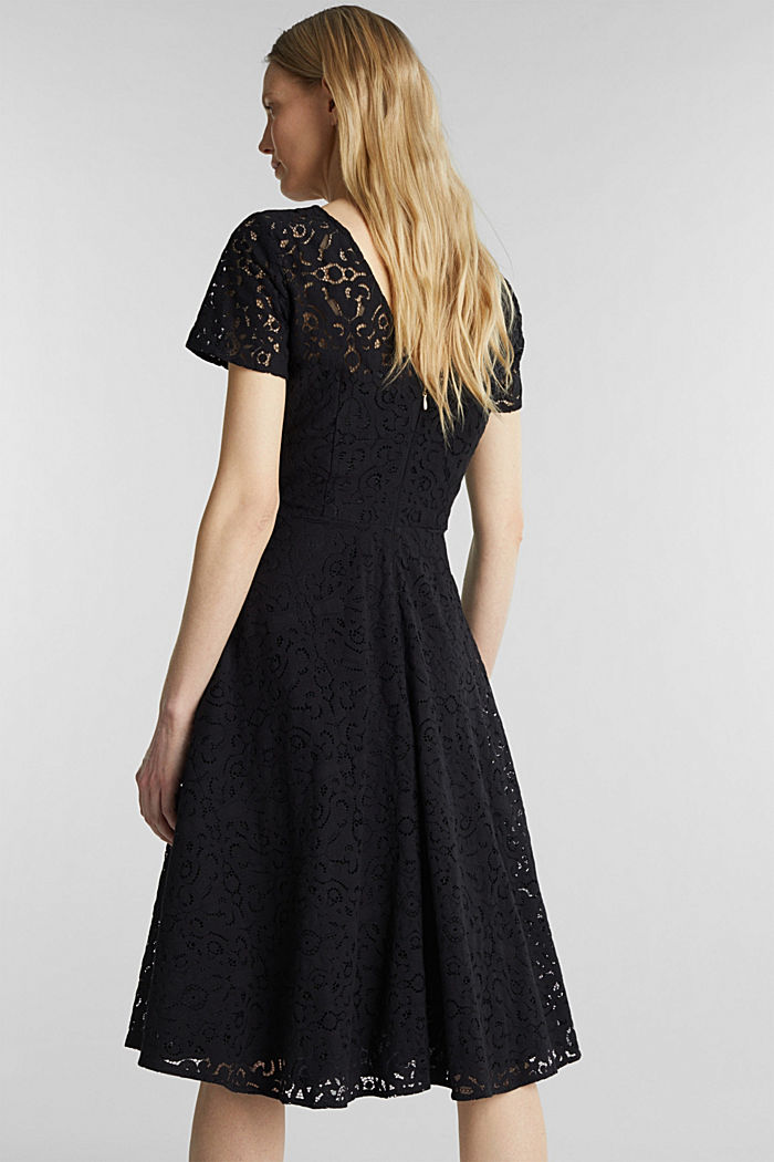 Lace dress with a swirling skirt, BLACK, detail image number 2