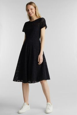 Lace dress with a swirling skirt, BLACK, detail