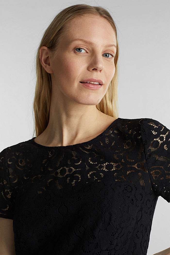Lace dress with a swirling skirt, BLACK, detail image number 3