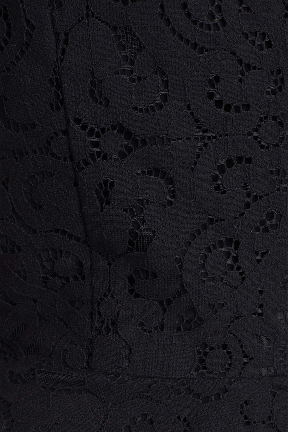 Lace dress with a swirling skirt, BLACK, detail image number 4