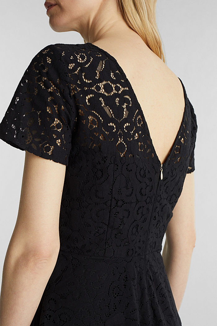 Lace dress with a swirling skirt, BLACK, detail image number 5