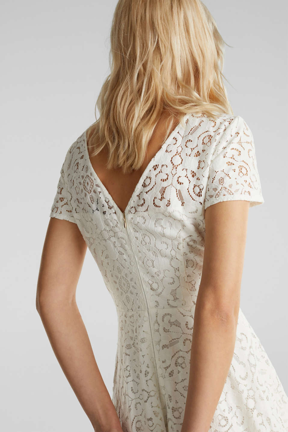 Lace dress with a swirling skirt, WHITE, detail image number 1