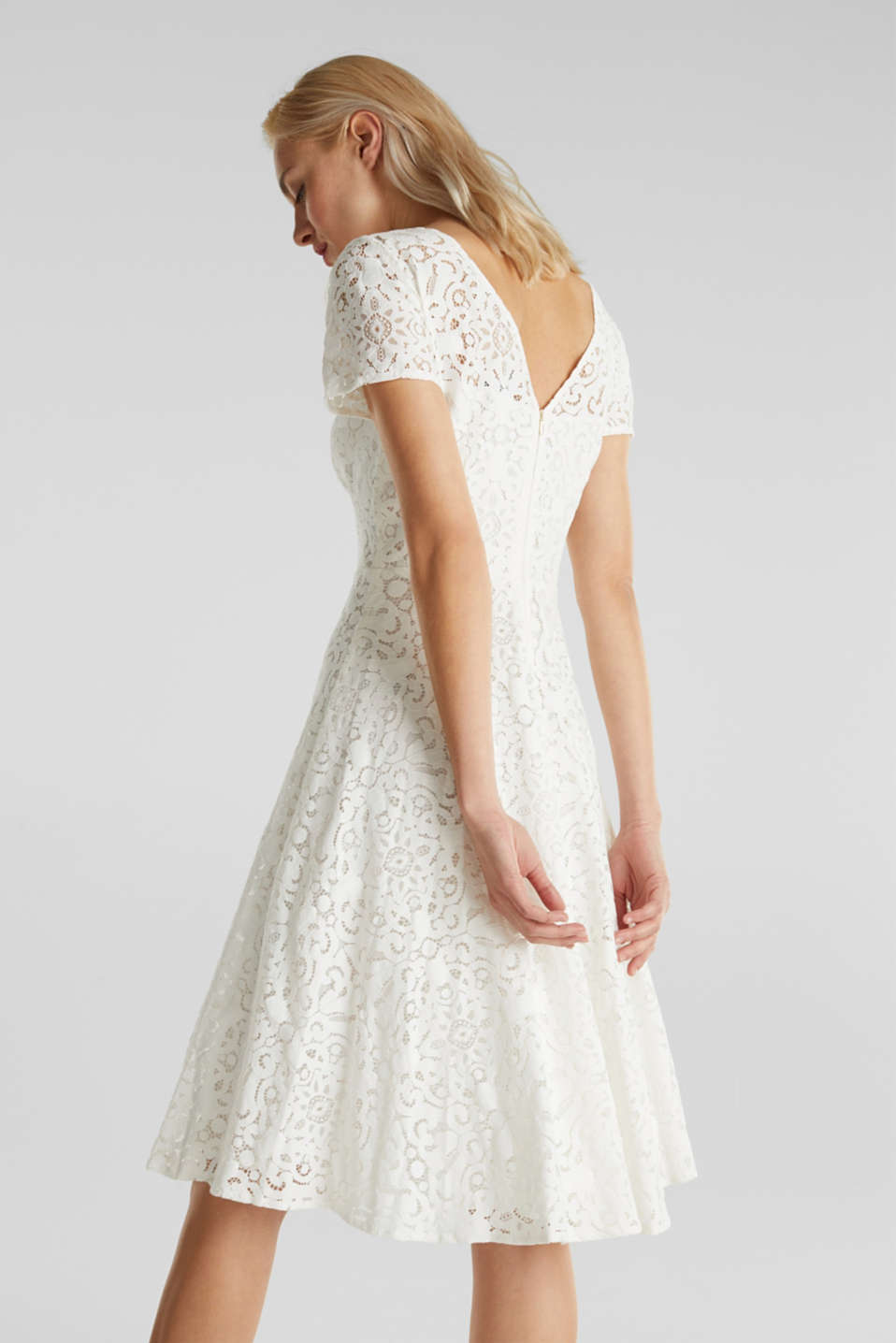 Lace dress with a swirling skirt, WHITE, detail image number 3