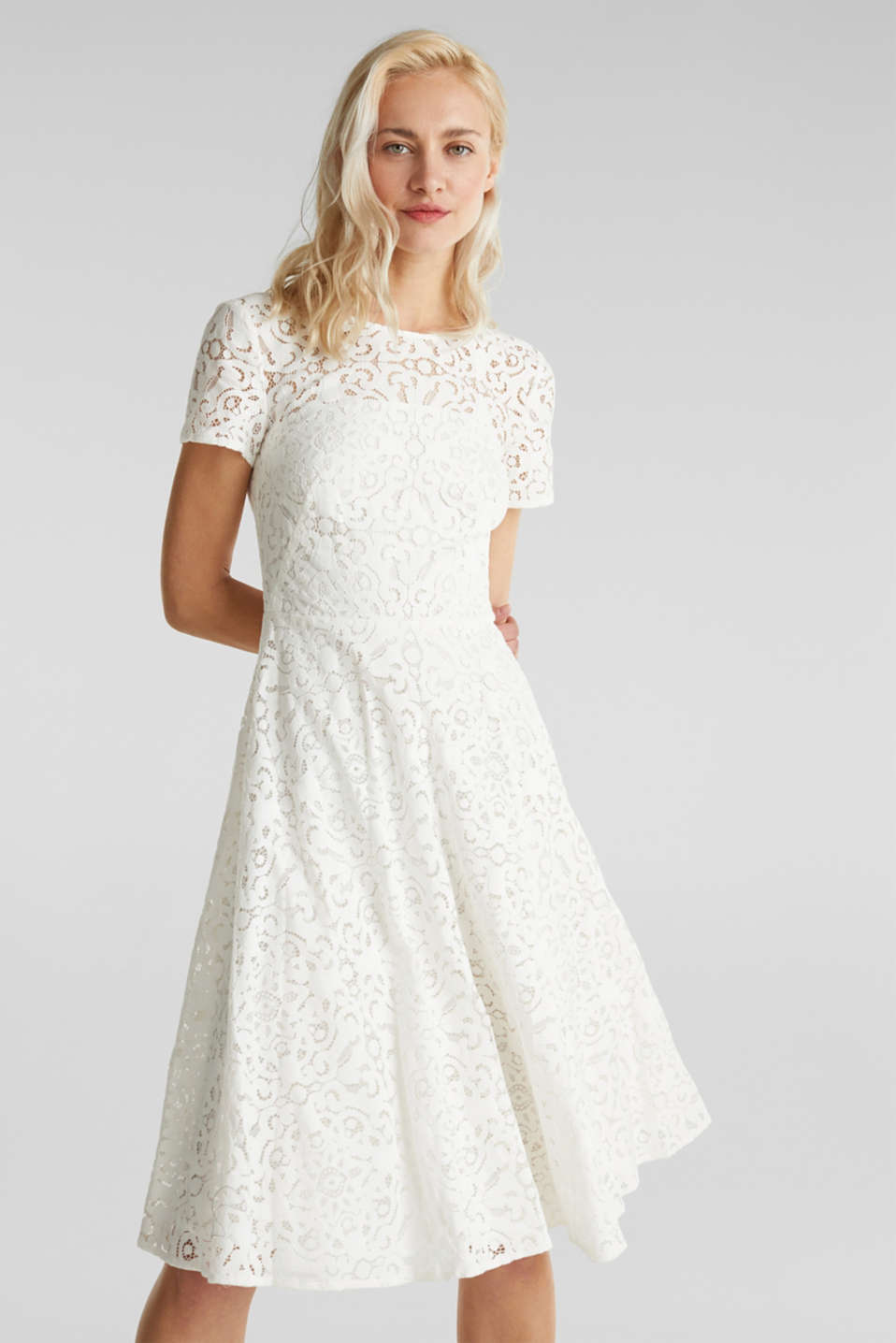 Lace dress with a swirling skirt, WHITE, detail image number 0