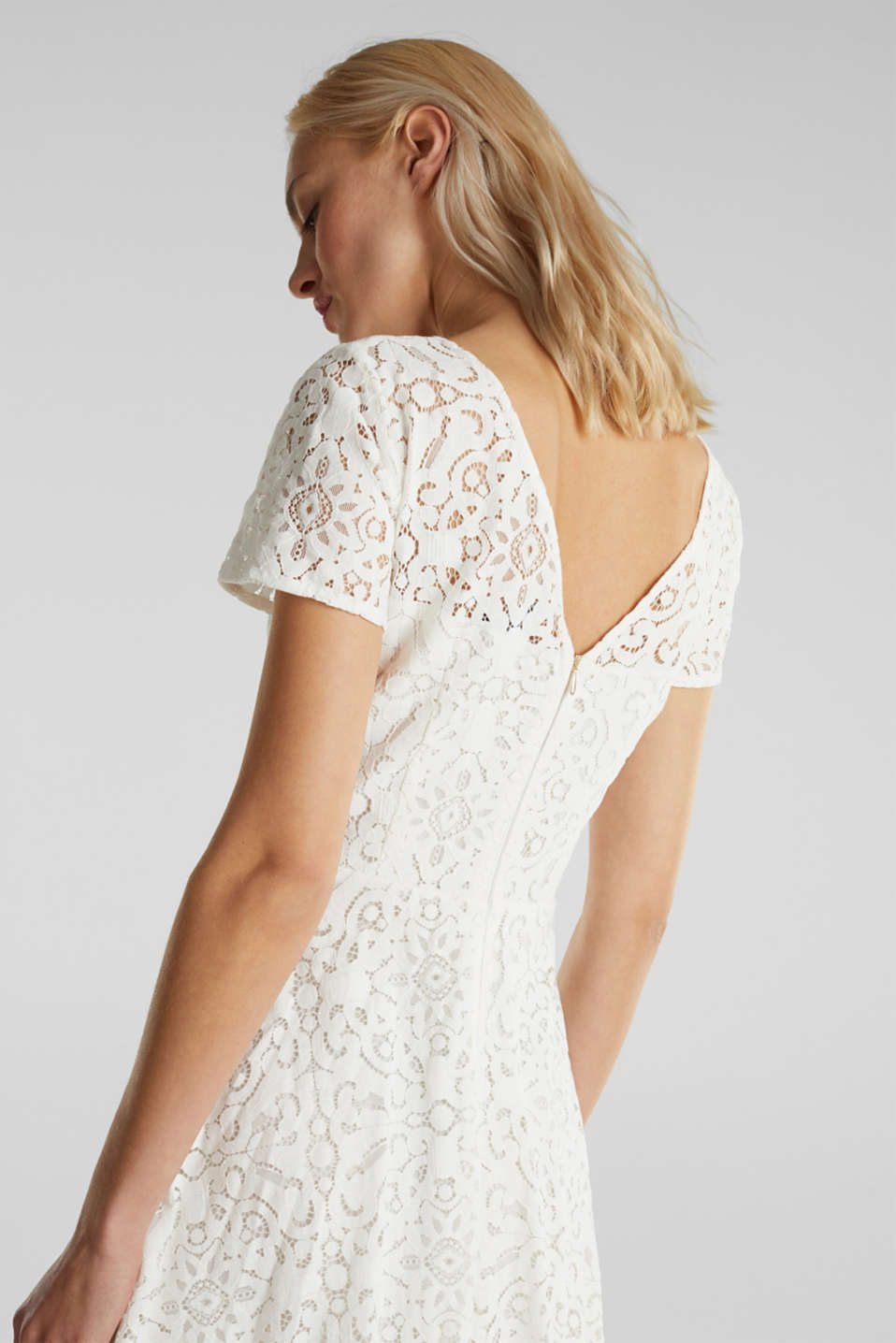 Lace dress with a swirling skirt, WHITE, detail image number 4