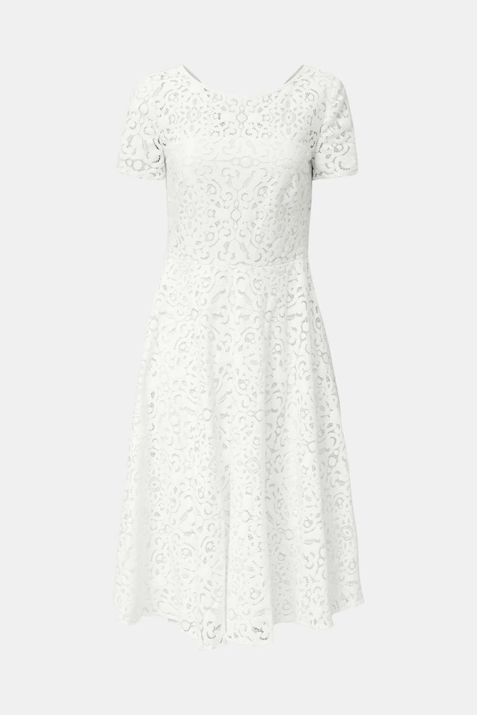 Lace dress with a swirling skirt, WHITE, detail image number 5