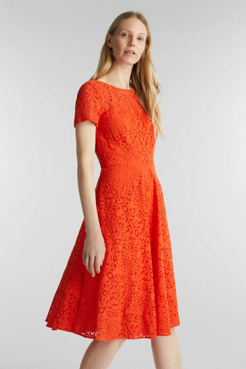 Lace dress with a swirling skirt, RED ORANGE, detail image number 0