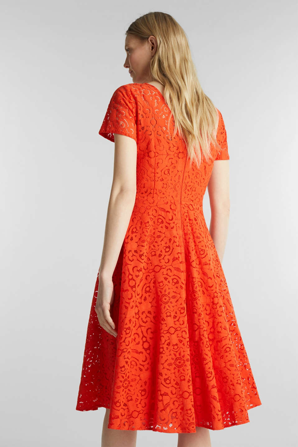 Lace dress with a swirling skirt, RED ORANGE, detail image number 2