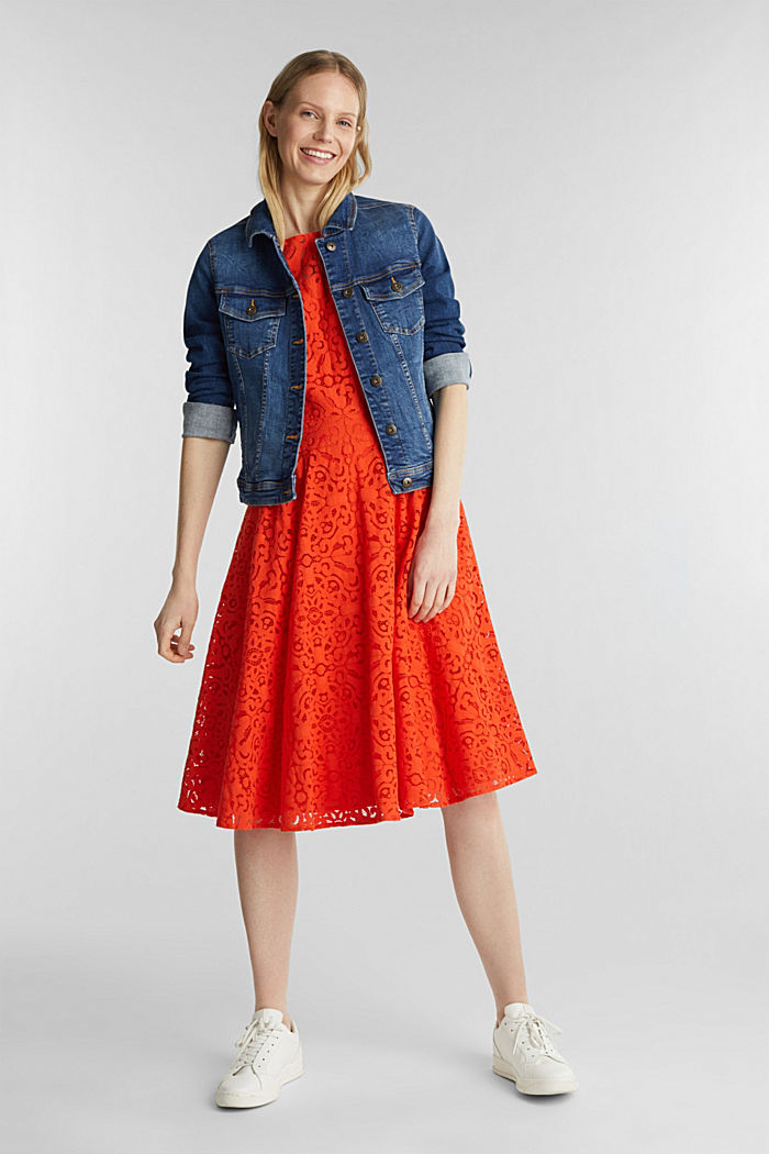 Lace dress with a swirling skirt, RED ORANGE, detail image number 1