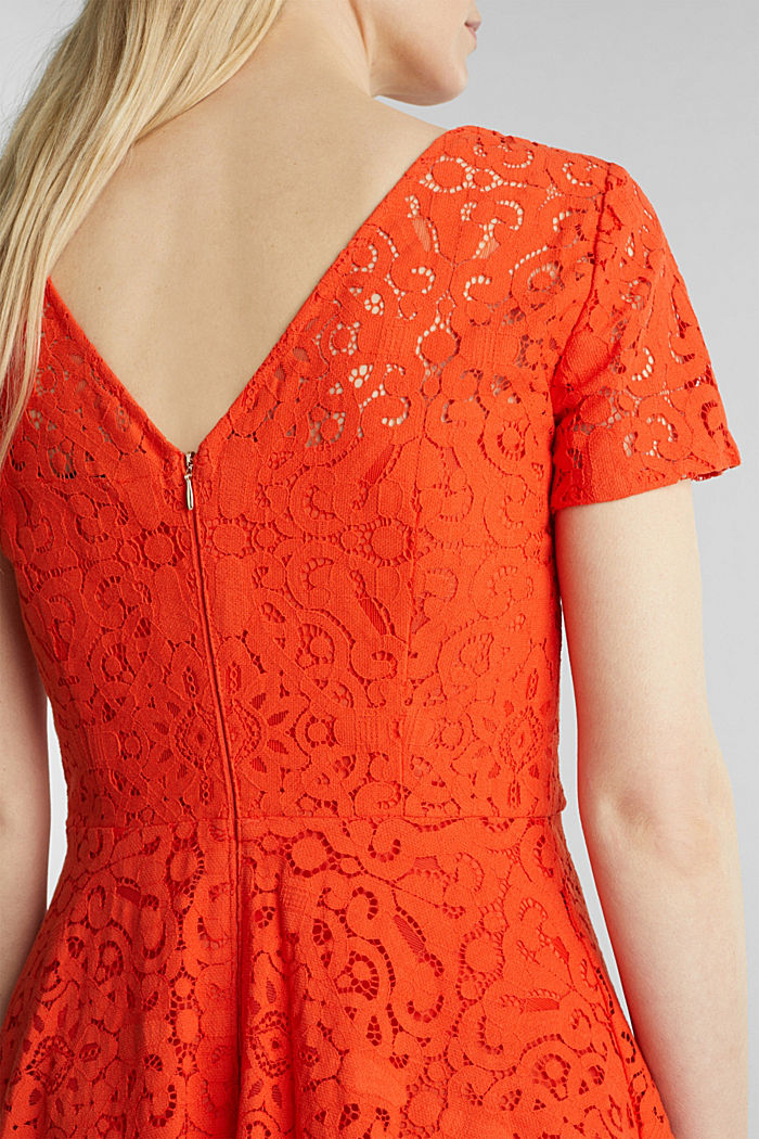 Lace dress with a swirling skirt, RED ORANGE, detail image number 3
