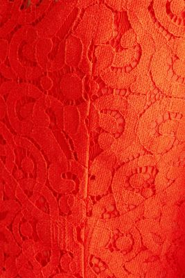 Lace dress with a swirling skirt, RED ORANGE, detail