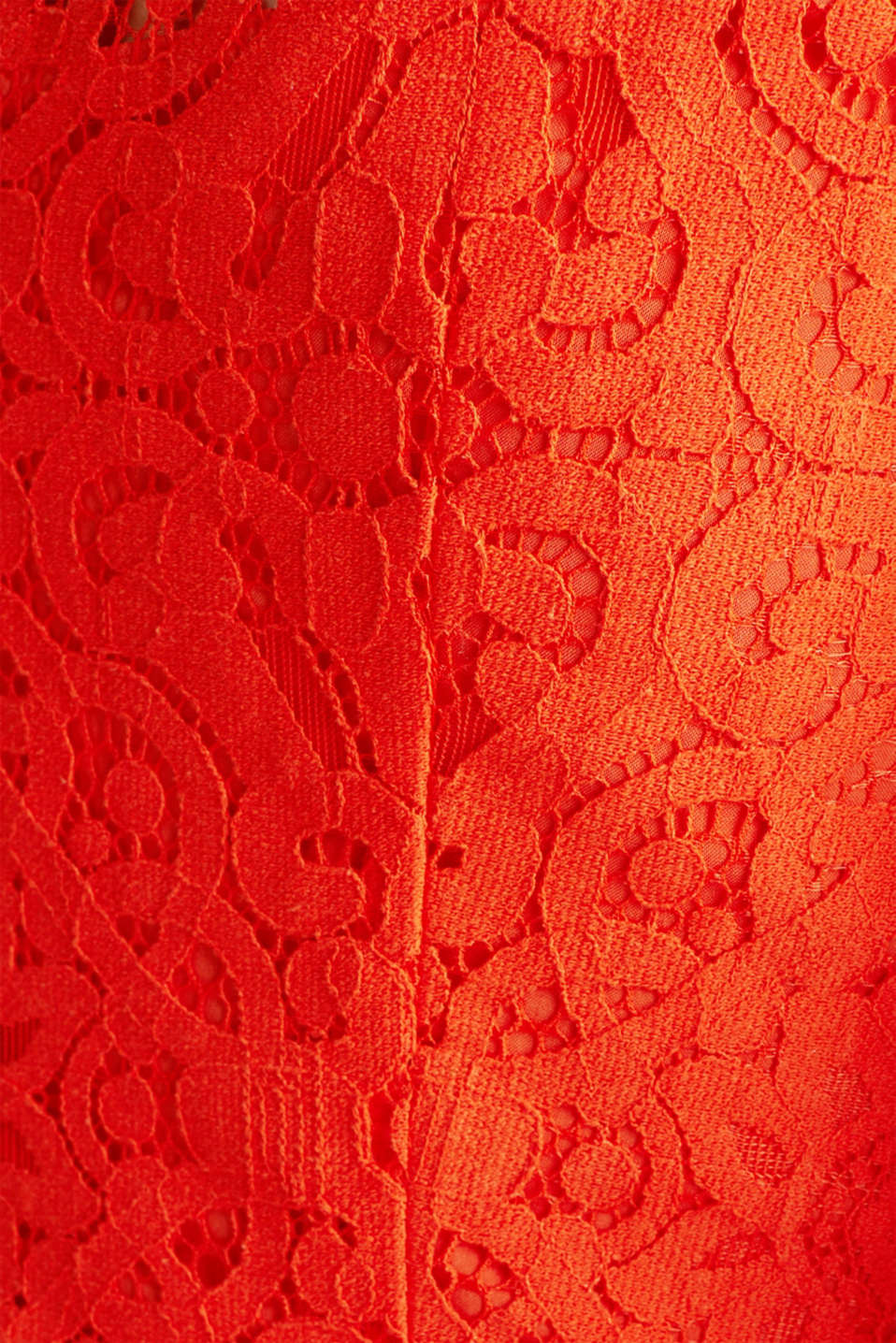 Lace dress with a swirling skirt, RED ORANGE, detail image number 4