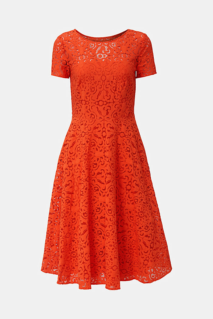 Lace dress with a swirling skirt, RED ORANGE, detail image number 6